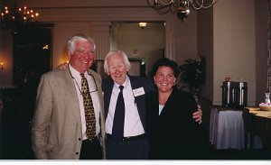 The Volunteer Service Corps celebrated its 10th reunion in October 1999. Pictured are Henry Cooper, Ed Christman, and Paige Wilbanks, Director.  Photo courtesy of Henry Cooper.