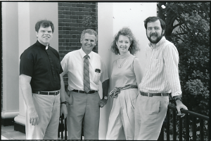 Campus ministers 1990: Bob McGee, Stuart Ellis, Marnie Houff, Doug Kearney. Photo by Susan Mullally.