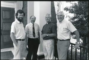 Campus ministers 1990: David Fouche, David Riffe, Curt Kremel, Henry Cooper.  Photo by Susan Mullally.