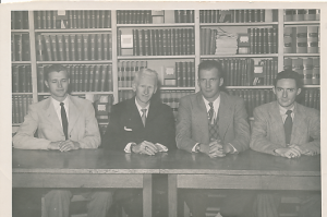 Student Bar Association Officers at the Wake Forest College Law School.  Ed Christman was president 1952-1953.