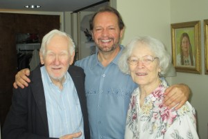 Ed and Jean love visitors from their Wake Forest years. They are pictured here with Neal Jones in May 2014. Photo by Kim Christman.